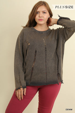 Dyed sweater with ripped details  - Bella Vita Chic Boutique