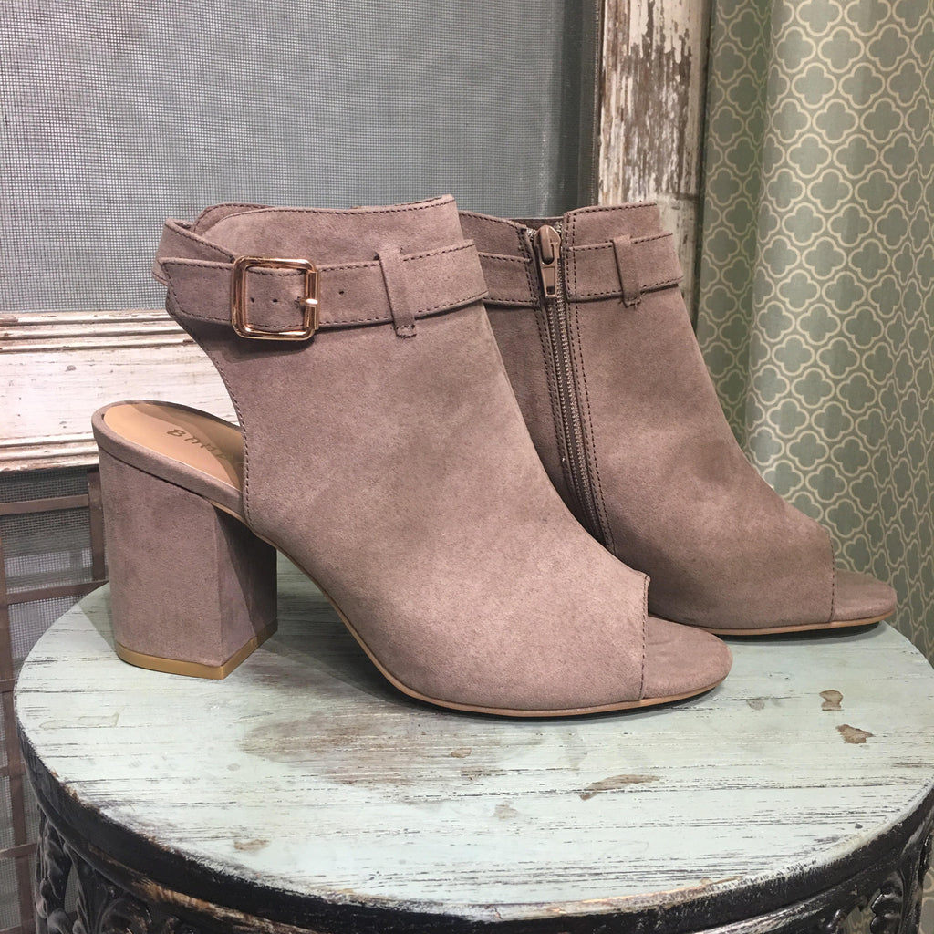 Taupe faux suede open toe and heel bootie  - Bella Vita Chic Boutique