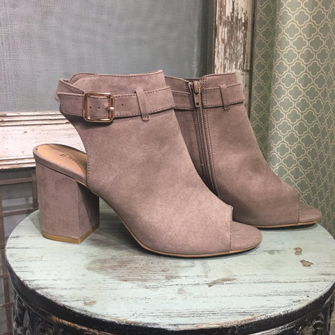 Taupe faux suede open toe and heel bootie