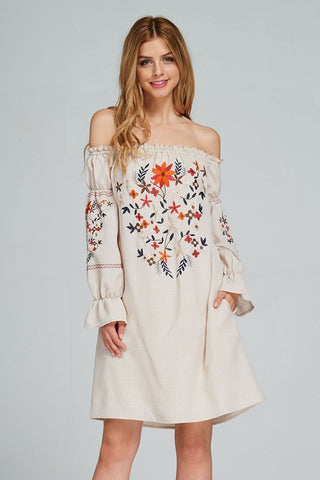 Tunic dress with floral embroidery