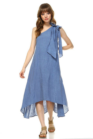 One shoulder linen calf length dress  - Bella Vita Chic Boutique