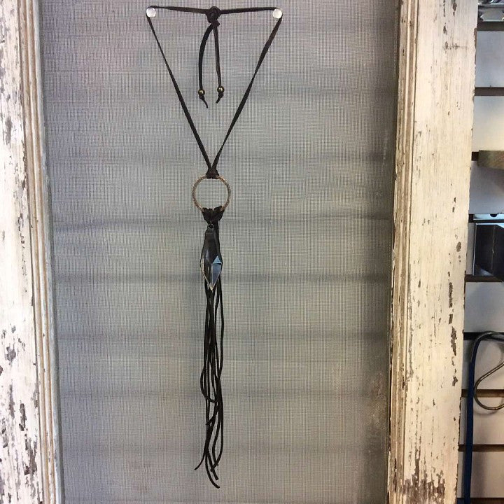 Adjustable leather tassle necklace  - Bella Vita Chic Boutique