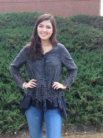 Stone washed black fashion top  with tie and eyelet detail is perfect for that country concert!
