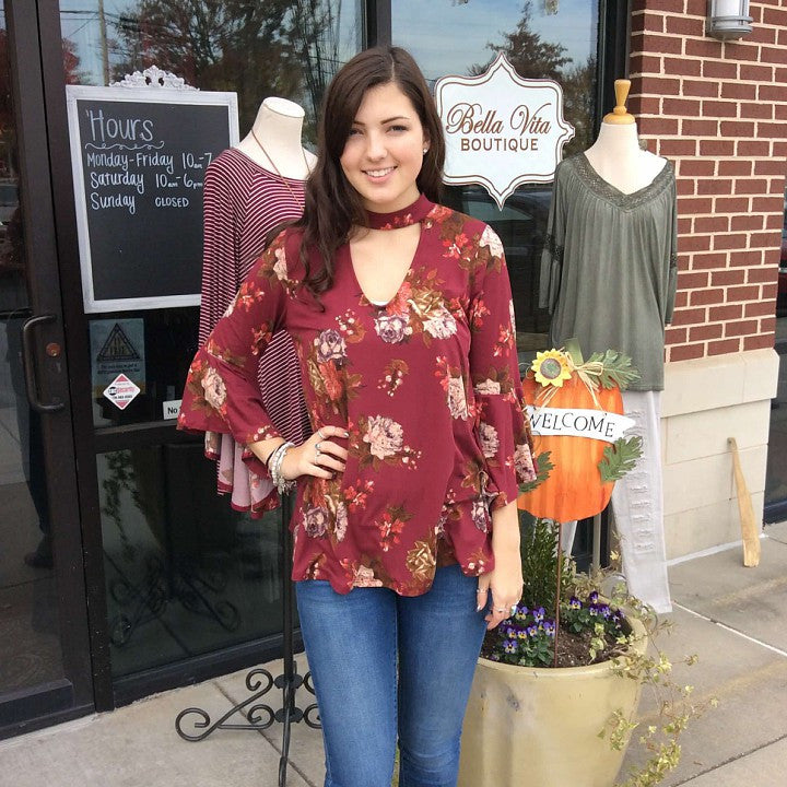 Floral bell sleeve top with a keyhole neck in burgandy  - Bella Vita Chic Boutique