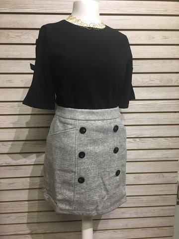 Knit button mini skirt