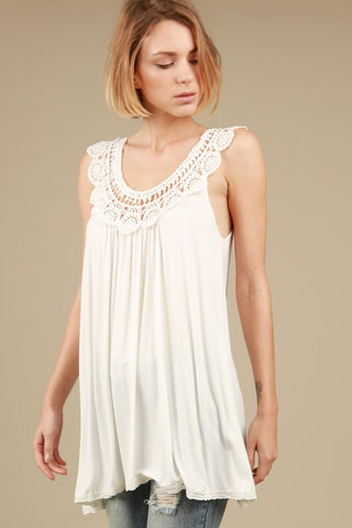 Crochet detailed tent tunic tank