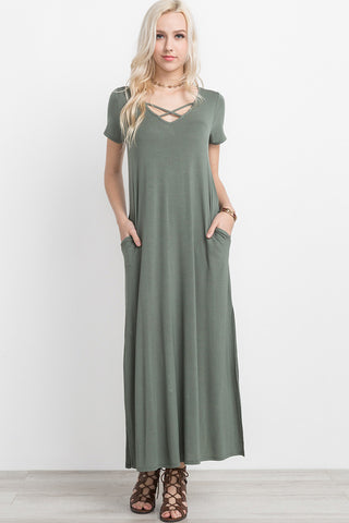 Crisscross front side slit maxi dress