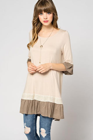 Crochet detail tunic  - Bella Vita Chic Boutique