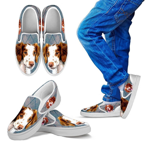 Brittany Dog Print Slip Ons For Kids-Express Shipping