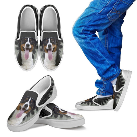 Greater Swiss Mountain Dog Print Slip Ons For Kids-Express Shipping
