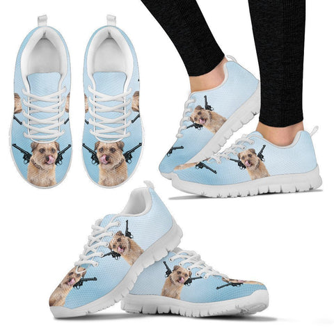 Two Guns With Border Terrier Print Running Shoes For Women-Free Shipping