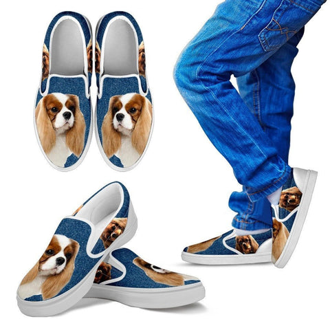 Cavalier King Charles Spaniel Dog Print Slip Ons For Kids-Express Shipping