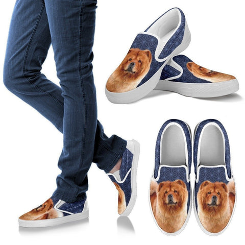 Chow Chow Dog Print Slip Ons For Women-Express Shipping
