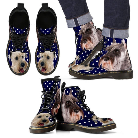 Miniature Schnauzer Print Boots For Men-Express Shipping