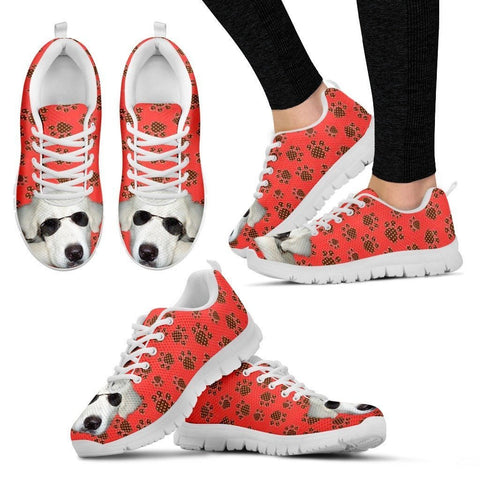 Customized Dog Print (White/Black) Running Shoes For Women Designed By Alice Peek