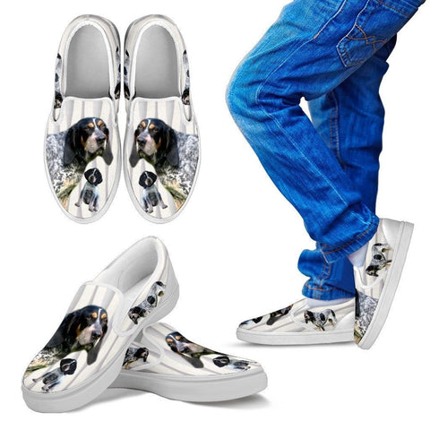 Bluetick Coonhound Print Slip Ons For Kids-Express Shipping