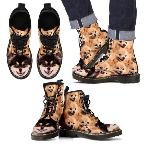 Pomeranian Print Boots For Men-Express Shipping