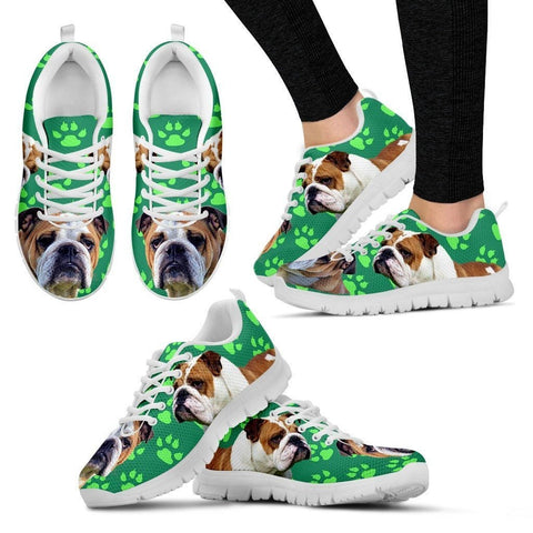 Paws Print Bulldog (Black/White) Running Shoes For Women-Express Shipping