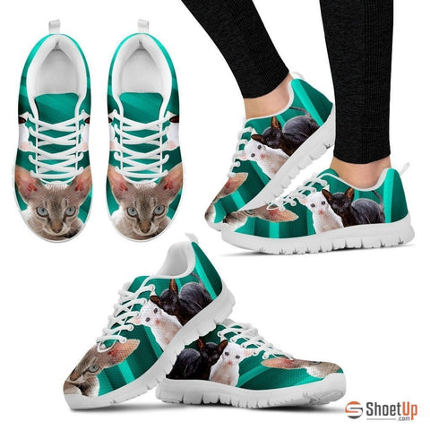 Cornish Rex Cat Print (Black/White) Running Shoes For Women-Free Shipping