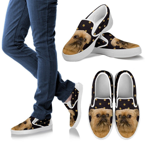 Brussels Griffon (Griffon Bruxellois) Print Slip Ons For Women-Express Shipping