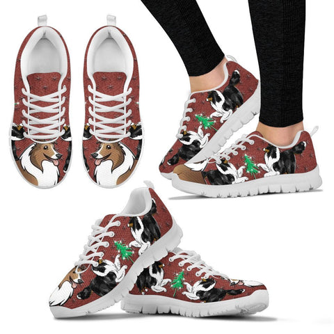 Shetland Sheepdog Print Christmas Running Shoes For Women-Free Shipping