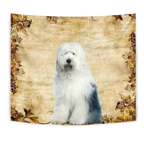 Old English Sheepdog On Yellow Print Tapestry-Free Shipping