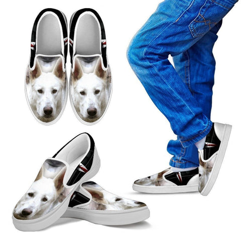 White Shepherd Print Slip Ons For Kids- Express Shipping