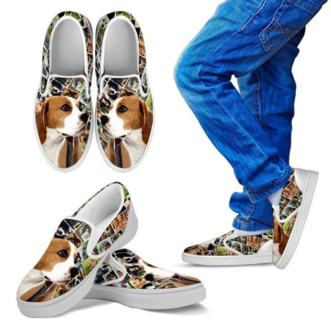 Amazing Beagle Dog Print Slip Ons For Kids-Express Shipping