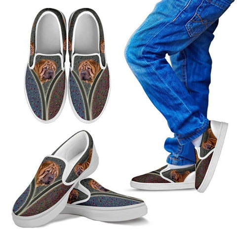 Shar Pei Dog Print Slip Ons For Kids-Express Shipping