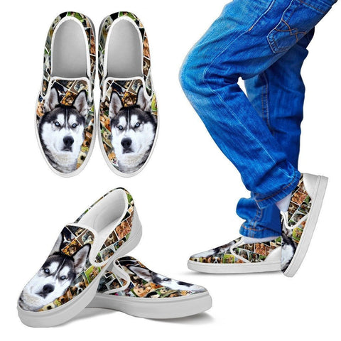 Amazing Siberian Husky Dog Print Slip Ons For Kids-Express Shipping