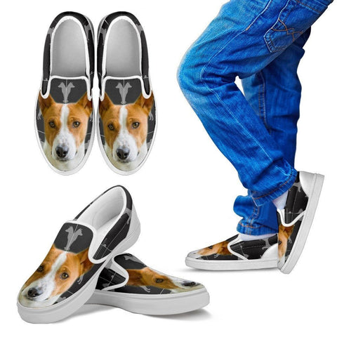 Basenji Print Slip Ons For Kids- Express Shipping