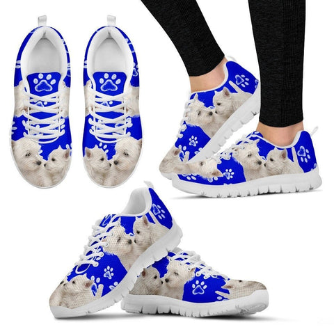 Paws Print West Highland White Terrier (Black/White) Running Shoes For Women-Express Shipping