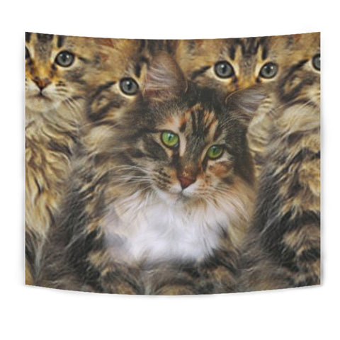 Cute Maine Coon Cat Print Tapestry-Free Shipping