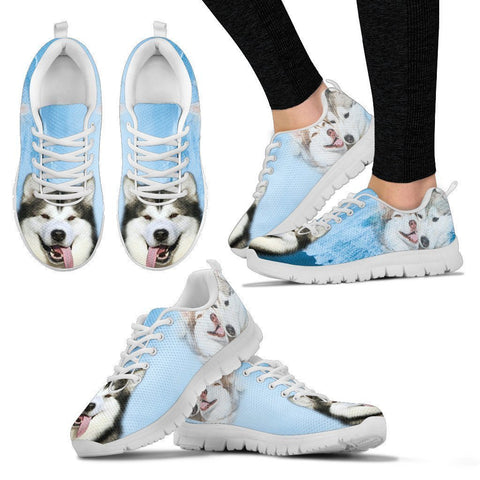 Alaskan Malamute Print Sneakers For Women- Free Shipping