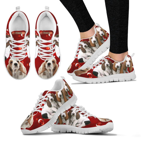 Basset Hound On Red-Women's Running Shoes-Free Shipping