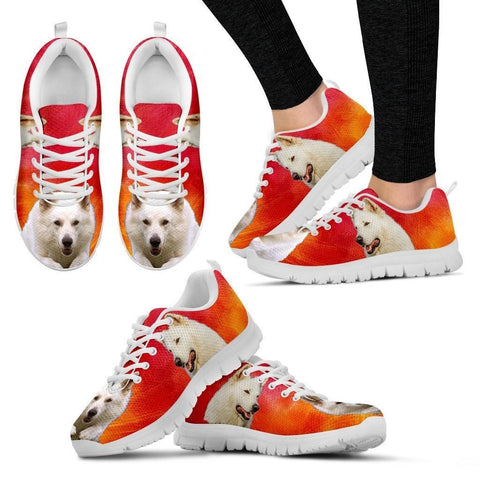 White Shepherd Print Sneakers For Women (White/Black)- Express Shipping