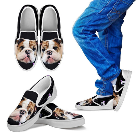 Bull Dog Print Slip Ons For Kids- Express Shipping
