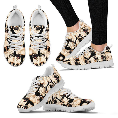 Pug Dog Pattern Print Running Shoes For Women (White)- Express Shipping