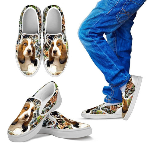 Amazing Basset Hound Print Slip Ons For Kids-Express Shipping