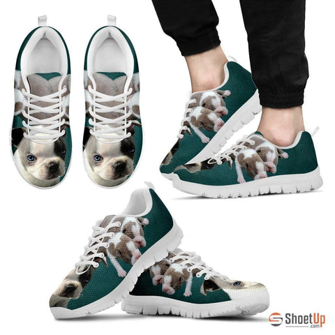 White & Grey Boston Terrier-Dog Running Shoes For Men-Free Shipping Limited Edition