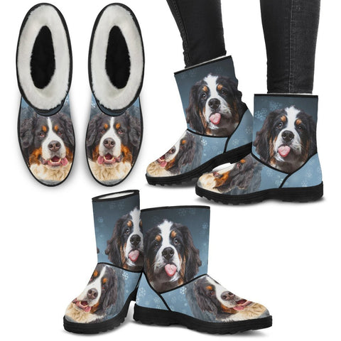 Bernese Mountain Dog Print Faux Fur Boots For Women- Free Shipping