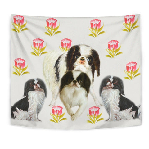 Japanese Chin Dog Floral Print Tapestry-Free Shipping