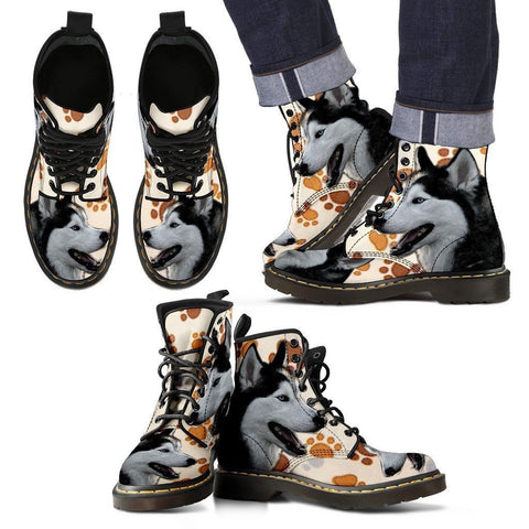 Siberian Husky Print Boots For Men-Express Shipping