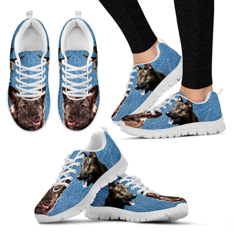Dutch Shepherd Print (Black/White) Running Shoes For Women-Free Shipping