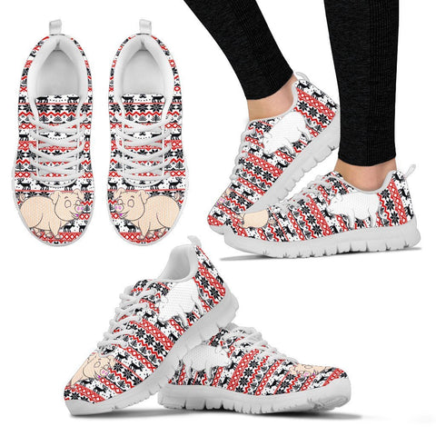 Vietnamese Pot Bellied Pig Print Christmas Running Shoes For Women- Free Shipping