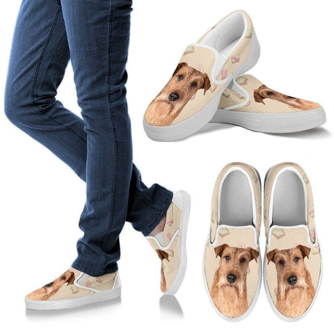 Irish Terrier Dog Print Slip Ons For Women-Express Shipping