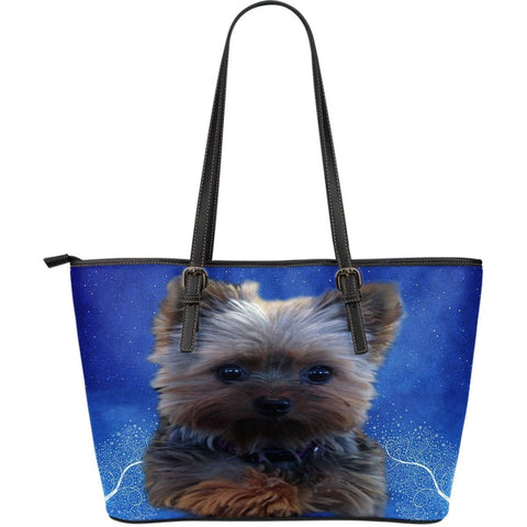 Yorkshire Dog-Large Leather Tote Bag-Free Shipping