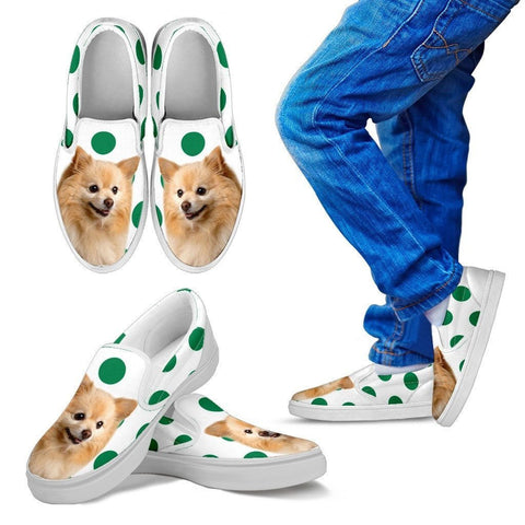 Pomeranian Dots Print Slip Ons For Kids-Express Shipping