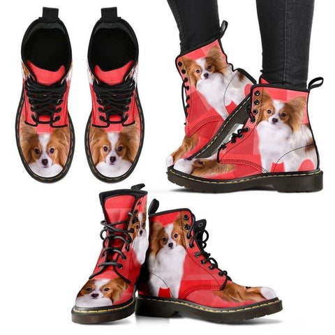 Papillon Dog Print Boots For Women-Express Shipping
