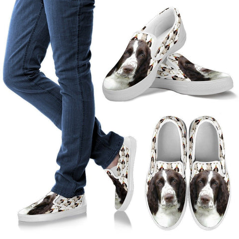 English Springer Spaniel Print Slip Ons For Women- Express Shipping